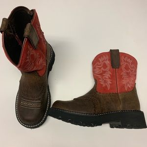 Ariat FATBABY Leather/Red Suede Boots